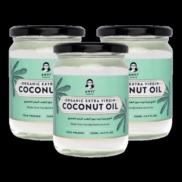 Anvi Earth Organic Extra Virgin Coconut Oil - Pack of 3 (500 ml x 3)